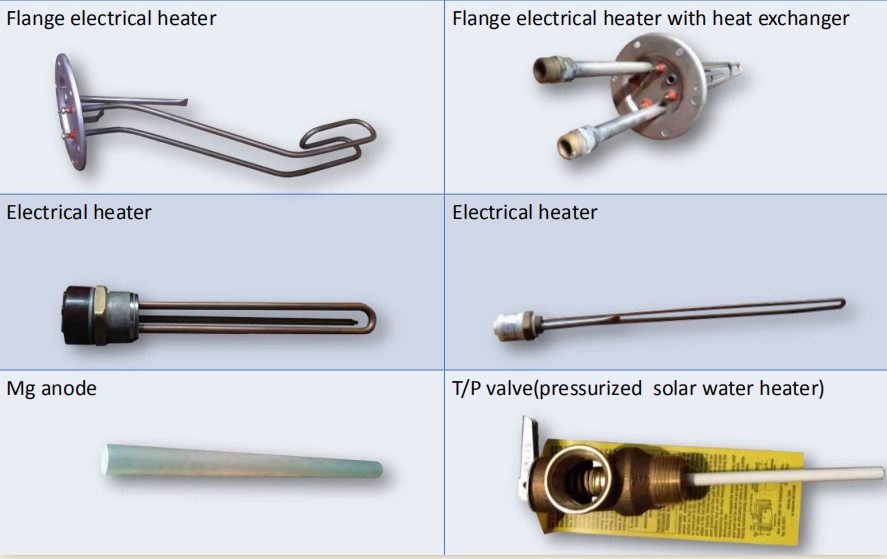 Solar water heater auxiliary heating accessories